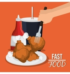 Chicken soda and fast food design vector