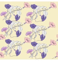 Seamless pattern with blue bindweed vector image