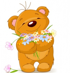 Teddy bear giving a bouquet vector