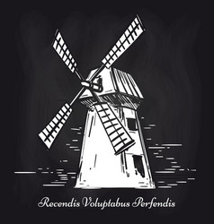 hand sketched mill on chalkboard background vector image