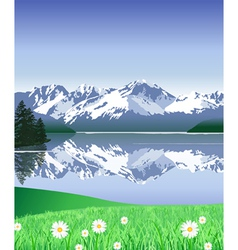 Snow Covered Mountains in spring vector image