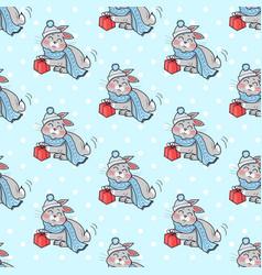 Little rabbit with present box seamless pattern vector