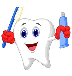 Tooth cartoon holding toothbrush and toothpaste vector image