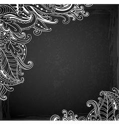 Floral ornament on a chalkboard vector image