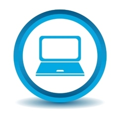 Laptop icon blue 3d vector
