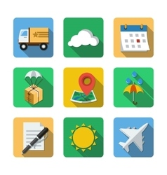 Nine different icons in a flat style vector
