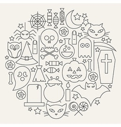 Halloween holiday line icons set circular shaped vector