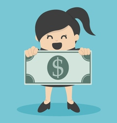 Business woman holding money vector