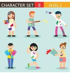 Holiday season colours holi people happy vector