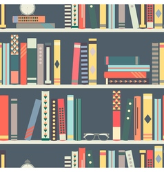 Seamless pattern with books on bookshelves vector
