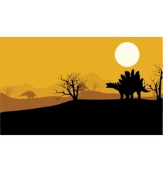 At sunset stegosaurus in fields scenery vector