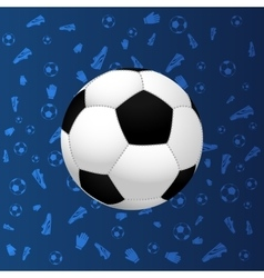 Soccer ball on blue gradient background vector image