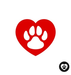 Pet paw love logo animal footprint with heart vector