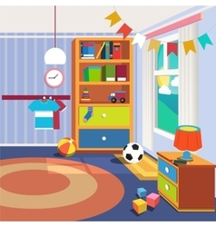 Children bedroom interior with furniture and toys vector