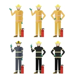 Set of firemen vector