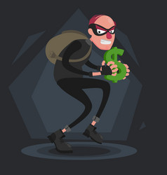 A balding thief with a backpack sneaks with a vector