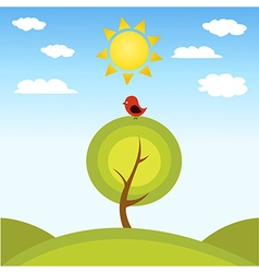 a tree and a bird vector image