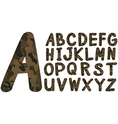 Alphabet font design with military theme vector image vector image