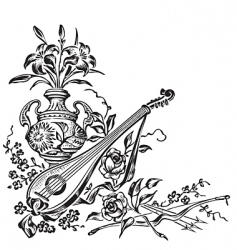 antique corner decoration engraving vector image