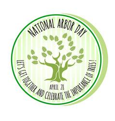 Arbor day icon oak tree vector