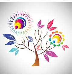 Beautiful abstract coloful tree with sun vector