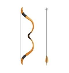 Bow and arrow icon cartoon style vector