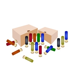Boxes of shotgun shells on white background vector