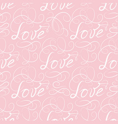 calligraphic love seamless pattern with vignette vector image