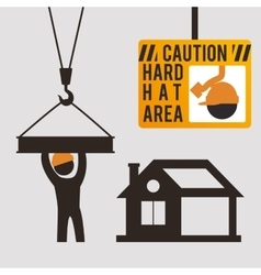 Caution hard hat area sing worker vector