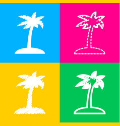 Coconut palm tree sign four styles of icon on vector