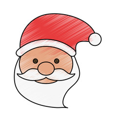 Colorful crayon silhouette of front face santa vector