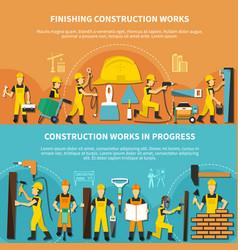 Construction worker flyer set vector