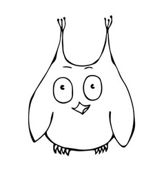 Cute funny surprised amused puzzled owl bird vector