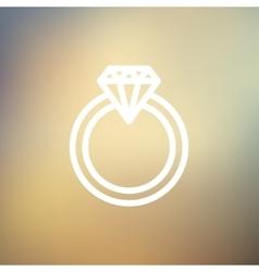 Diamond ring thin line icon vector image vector image