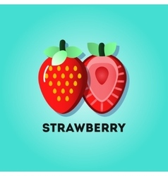 Flat lay strawberries vector image