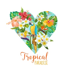 Floral heart graphic design - tropical flowers vector