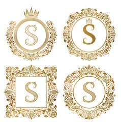 Golden letter s vintage monograms set heraldic vector