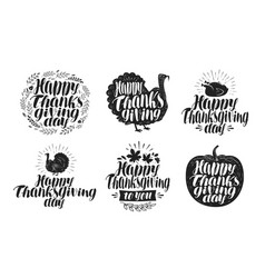 happy thanksgiving label set holiday icons or vector image vector image