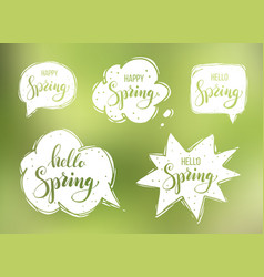 hello spring lettering on speech bubbles vector image vector image