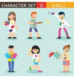 Holiday Season Colours Holi People Happy vector image