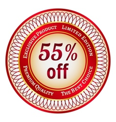Label on 55 percent discount vector image vector image