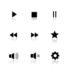 Media player drop shadow buttons set vector