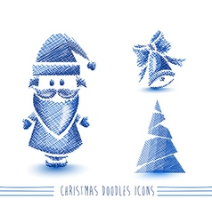 Merry Christmas blue sketch style elements set vector image vector image