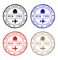 New york mail stamps colored set of round impress vector