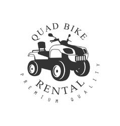 Renting premium quality quad bike label design vector