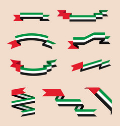 Ribbons or banners in colors of flag of uae vector