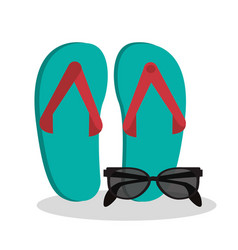 Sandals sunglasses beach vacation vector