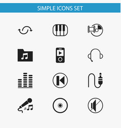 set of 12 editable melody icons includes symbols vector image