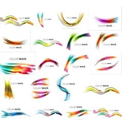 Set of blurred wave lines with shiny light effects vector image