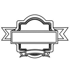 Silhouette heraldic ornament with ribbon vector